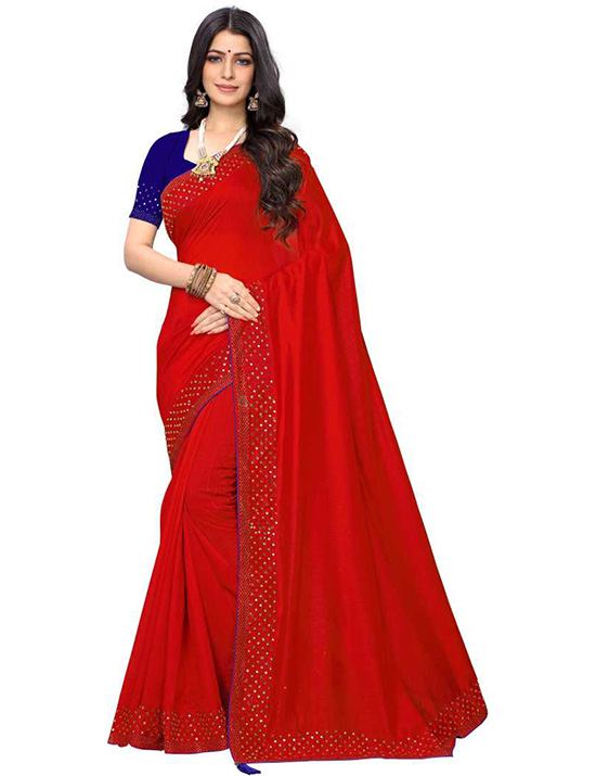 Solid Bollywood Pure Silk Red Saree