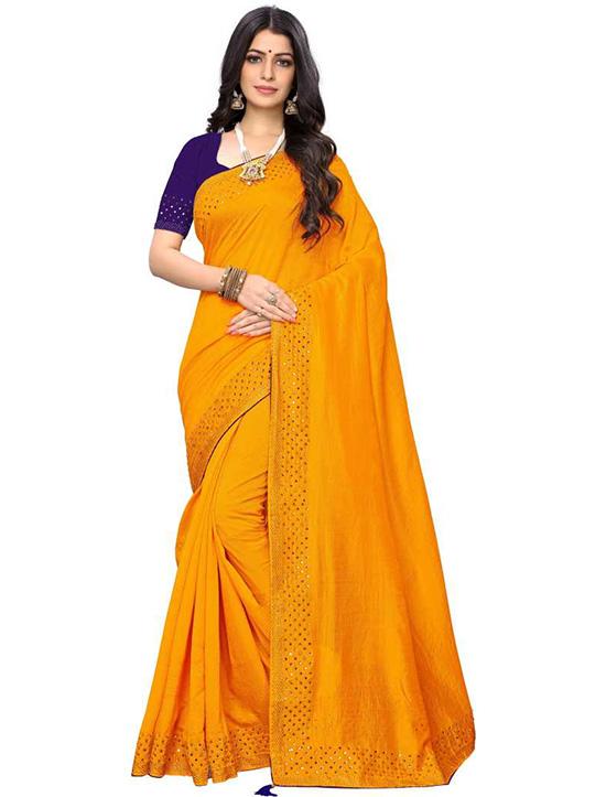 Solid Bollywood Pure Silk Yellow Saree