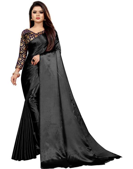 Solid Bollywood Satin Blend Black Saree