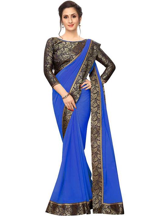 Solid Daily Wear Georgette, Chiffon Blue Saree