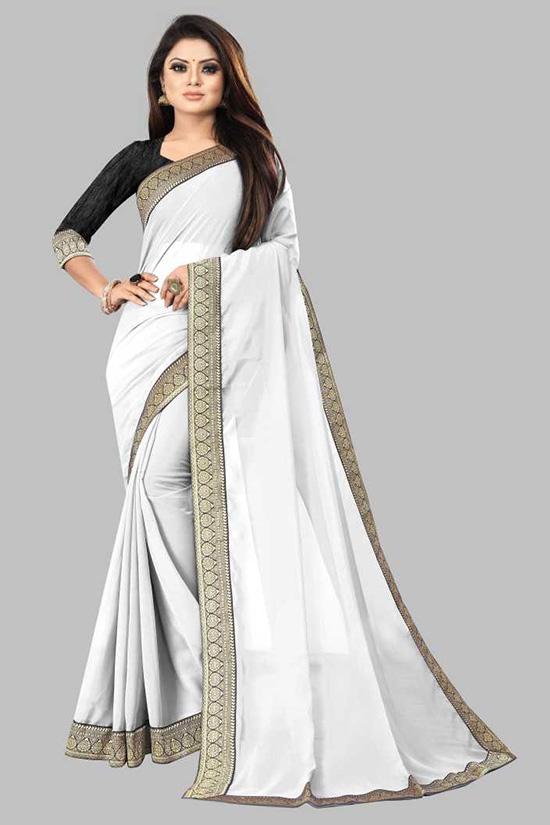 Solid Daily Wear Georgette, Chiffon White Saree