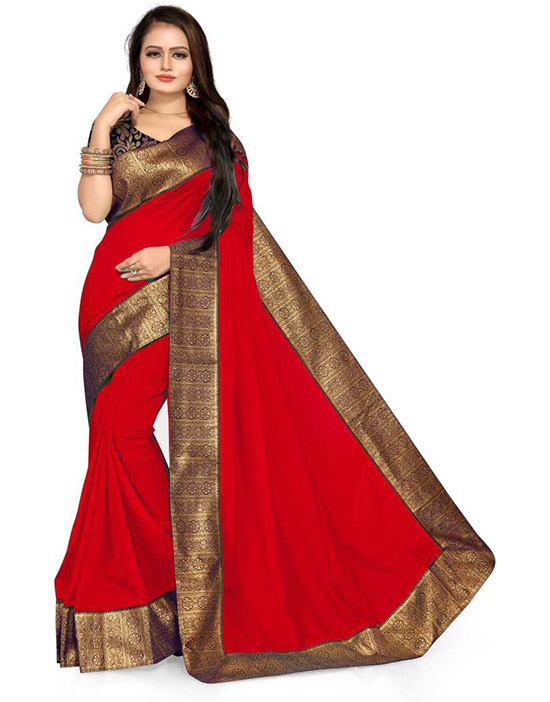Solid Daily Wear Pure Silk Red Saree