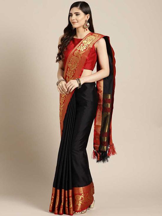 Solid Dharmavaram Cotton Silk Black Saree