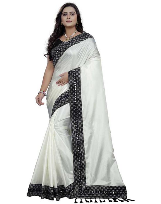 Solid Fashion Art Silk White Saree