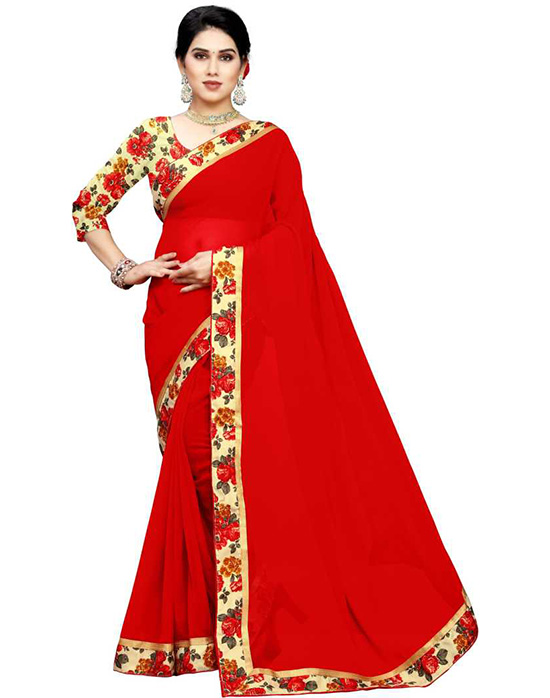 Solid Fashion Chiffon Red Saree