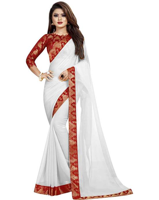 Solid Fashion Georgette, Chiffon White Saree