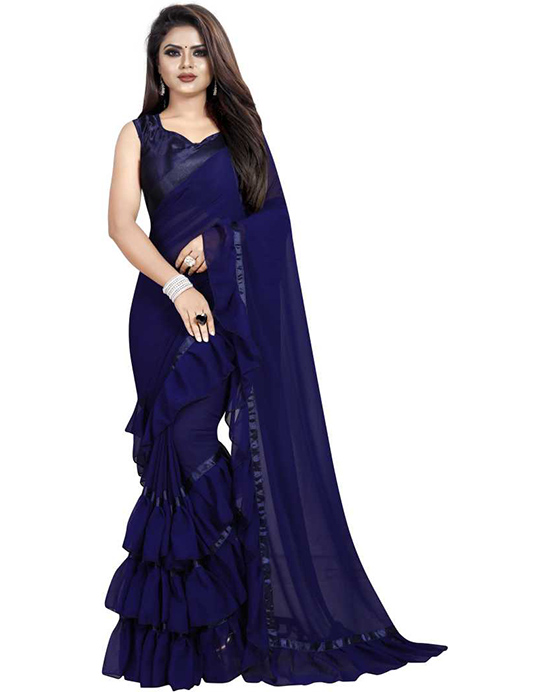 Solid Fashion Georgette Navy Blue Saree