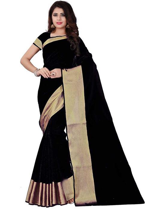 Solid Fashion Polycotton Black Saree