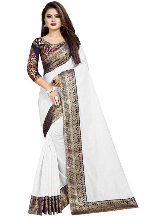 Solid Rajshahi Cotton Silk White Saree