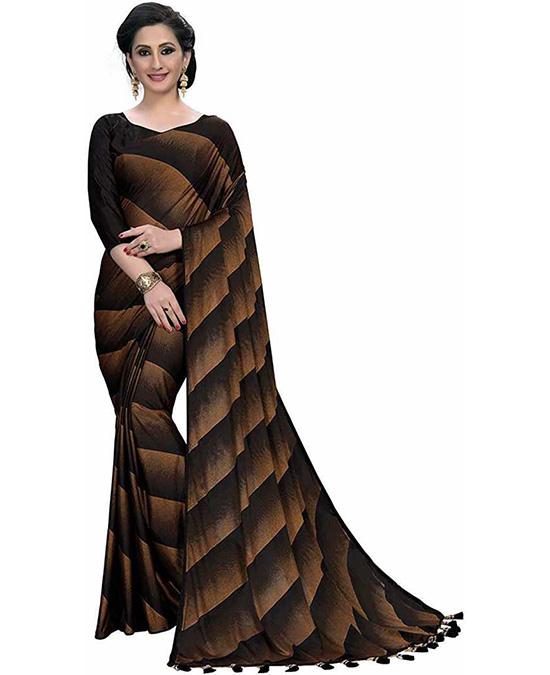 Striped Bollywood Lycra Blend Brown Saree