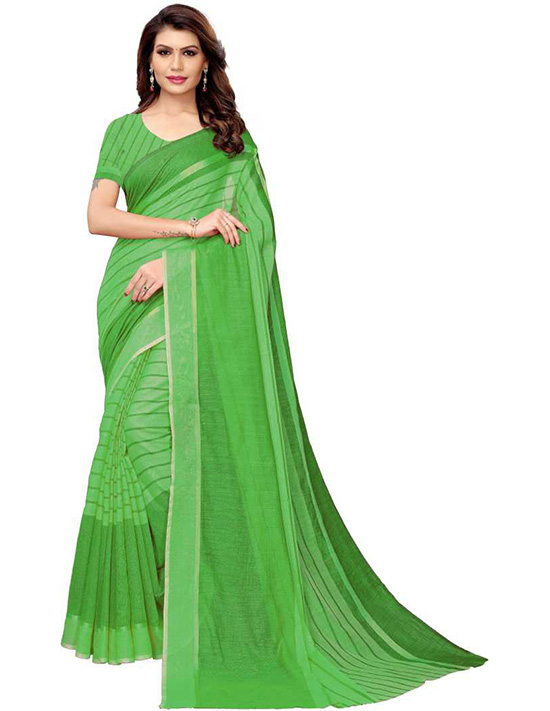 Striped Daily Wear Cotton Silk Green Saree
