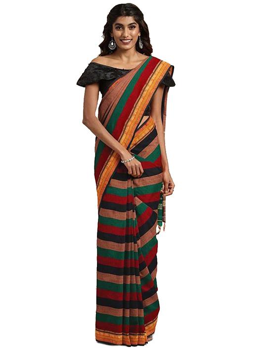 Striped Mangalagiri Cotton Blend Saree Multicolor