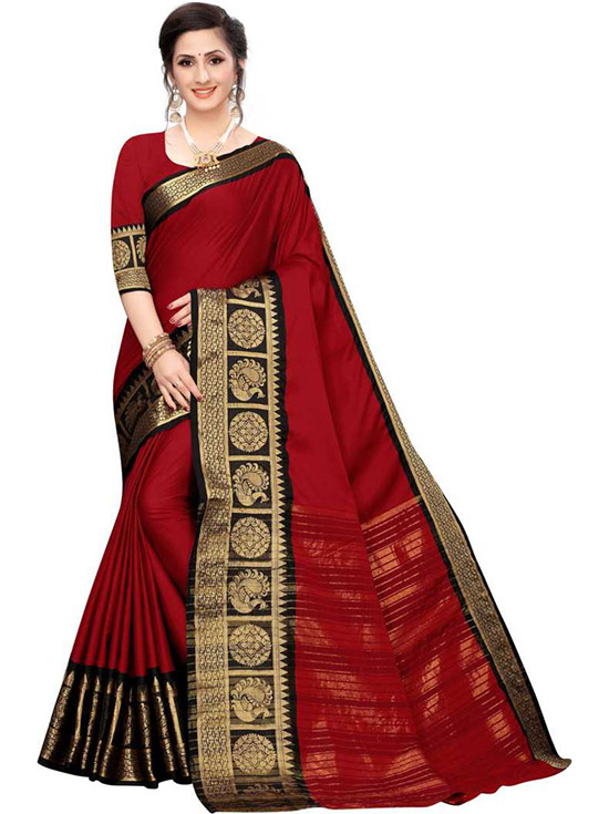 Striped, Woven, Embellished Banarasi Cotton Silk Red Saree