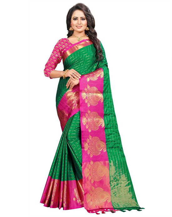 Striped, Woven, Embellished, Solid, Checkered Paithani Cotton Linen Blend, Jacquard Green Saree