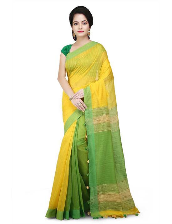 Striped, Woven, Plain Daily Wear Cotton Jute Blend, Pure Cotton Yellow Saree