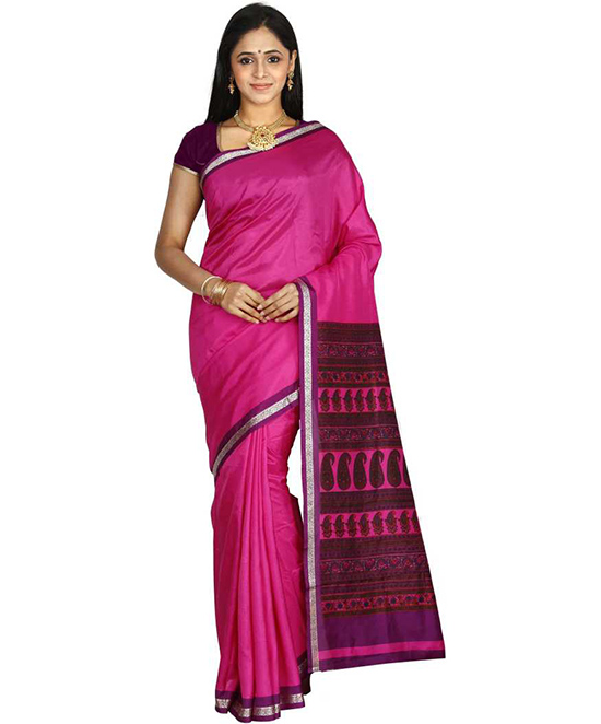 Sungudi Art Silk Saree Pink