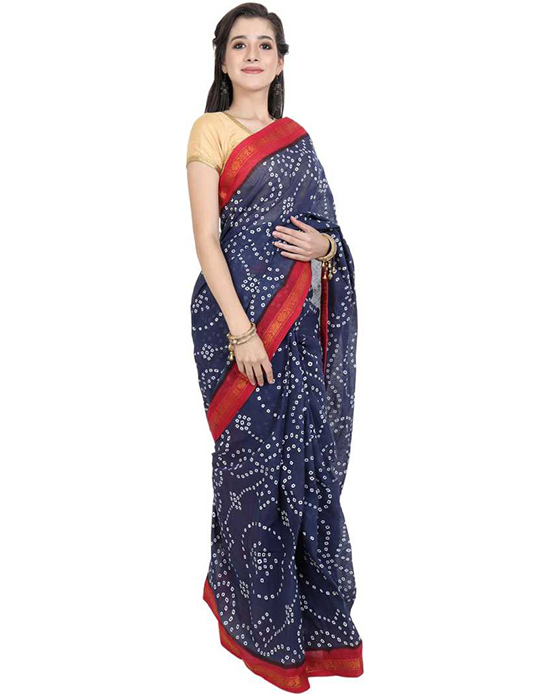 Sungudi (Blue) Cotton Blend Saree
