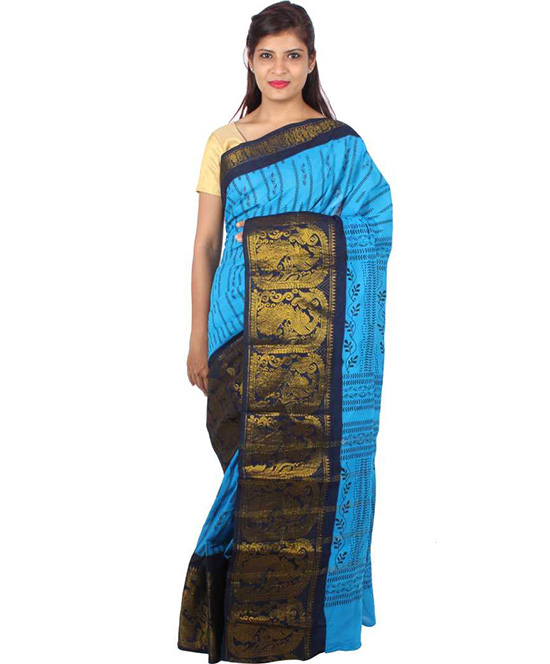 Sungudi BlueCotton Blend Saree