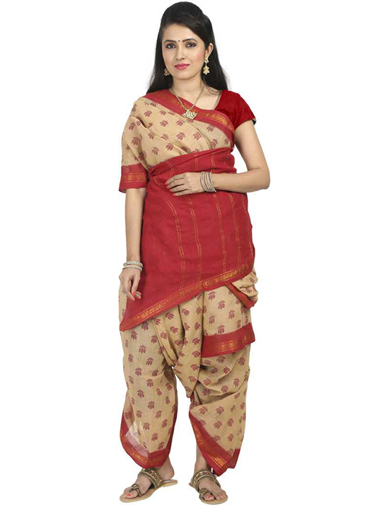 Sungudi Cotton Blend Saree  Beige