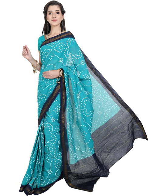 Sungudi Cotton Blend Saree Blue