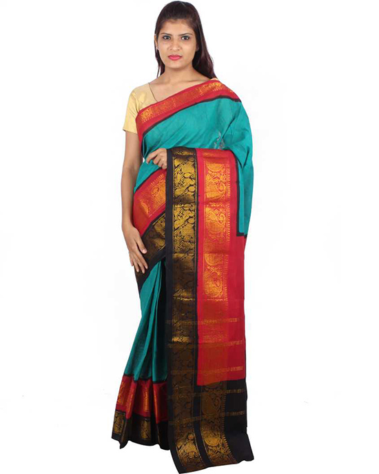 Sungudi Cotton Blend Saree Green