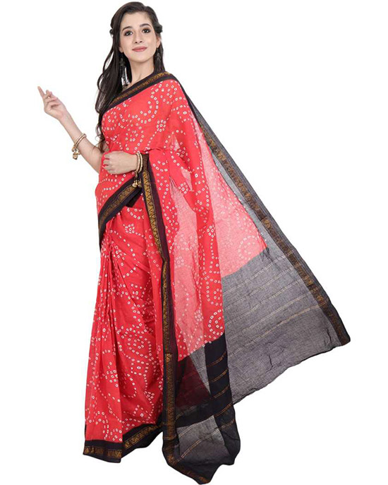 Sungudi Cotton Blend Saree  Red