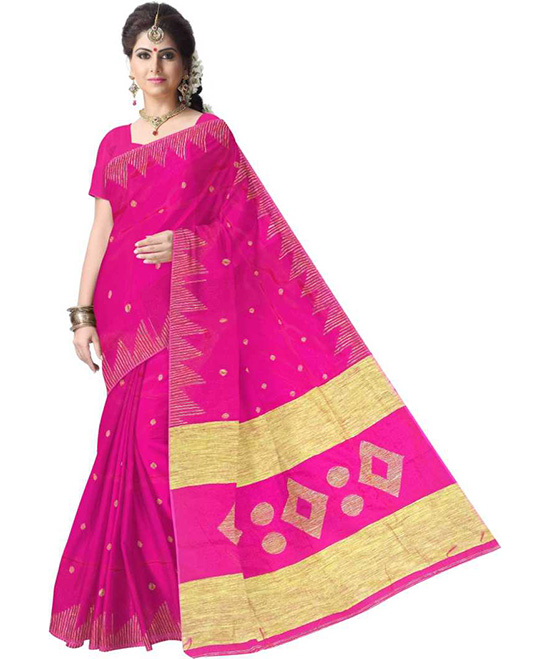 Sungudi Cotton Silk Saree  Pink