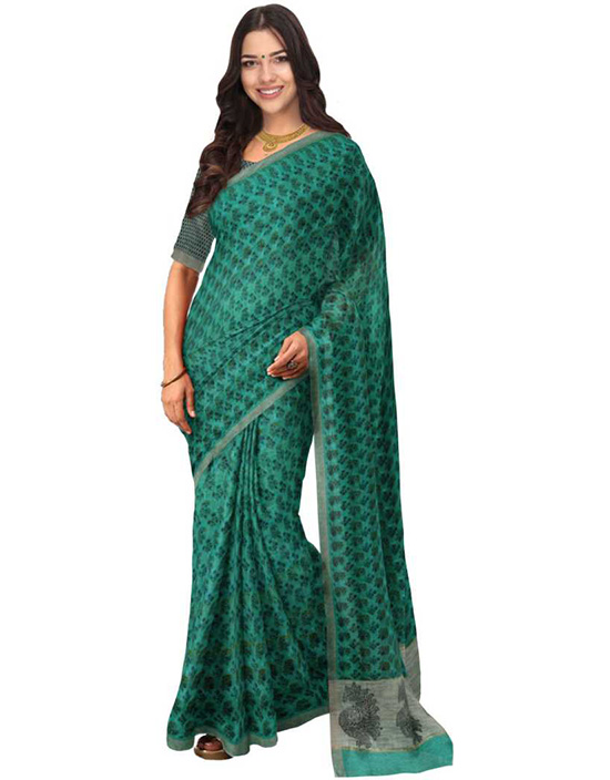 Sungudi Georgette Saree  Green