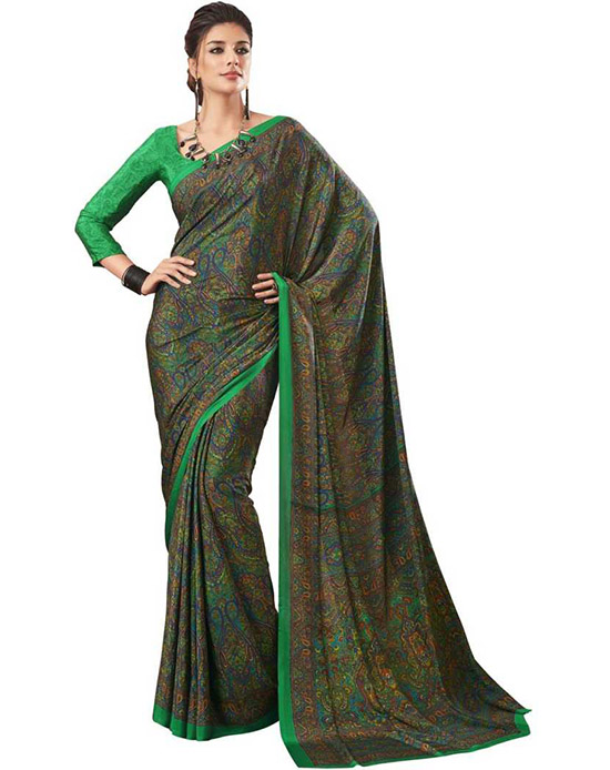 Sungudi Poly Crepe Saree Multicolor