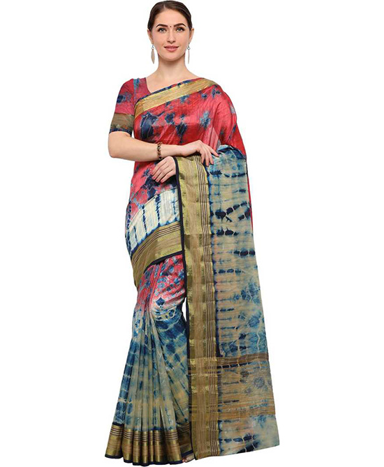 Sungudi Poly Silk Saree  Red