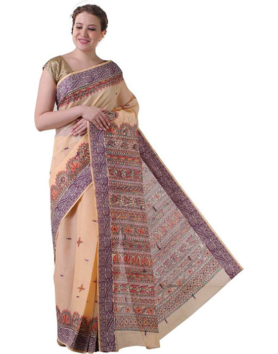 Sungudi Pure Cotton Saree Beige