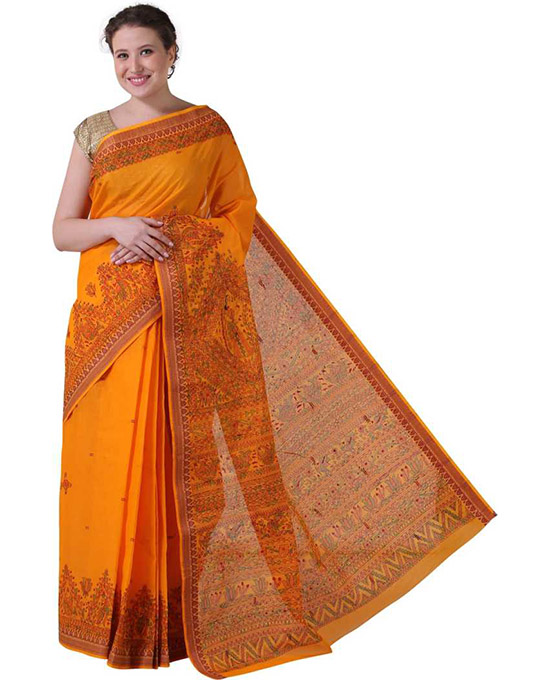 Sungudi Pure Cotton Saree  Orange