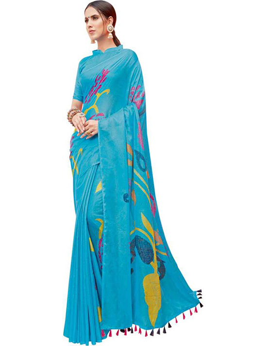 Sungudi Silk Blend Saree  Blue