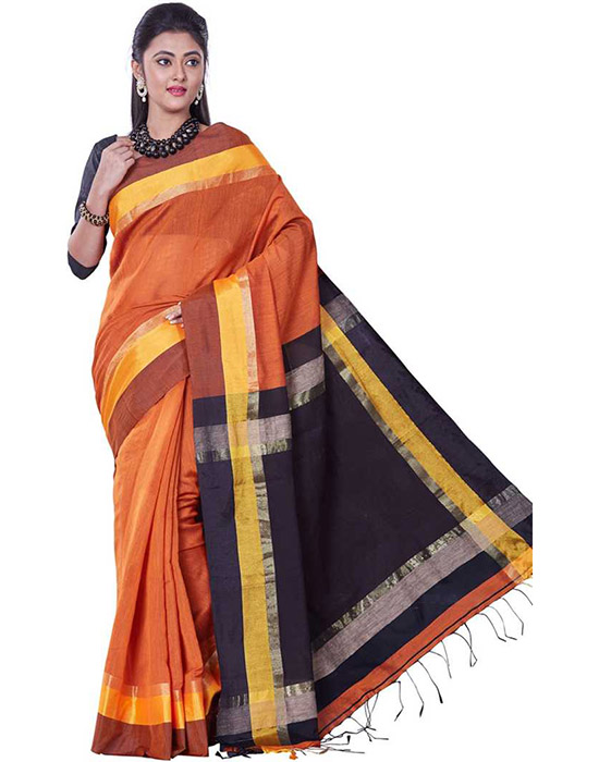 Tangail Handloom Cotton Blend Saree Black, Orange, Yellow