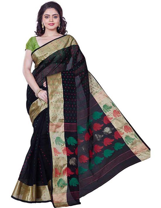 Tangail Handloom Cotton Blend Saree Red, Green, Gold, Black