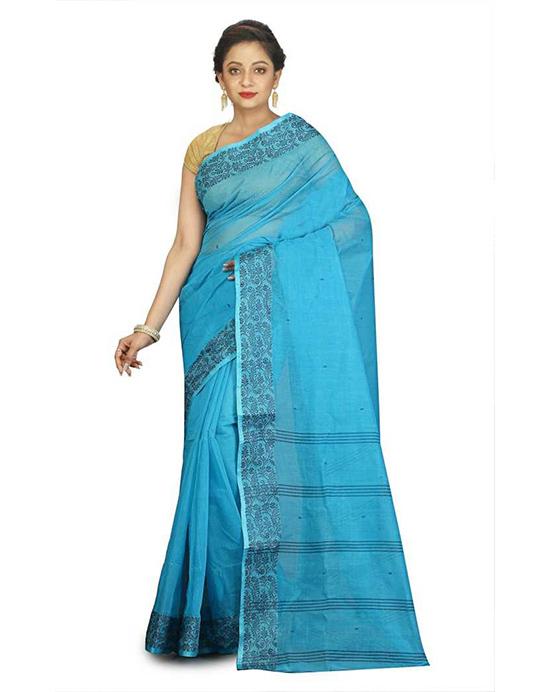 Tangail Handloom Cotton Blend Saree(Multicolor