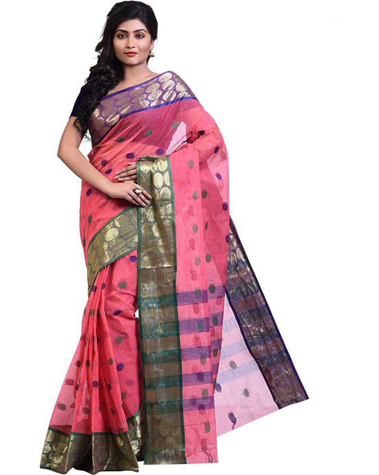 Tangail Handloom Cotton Linen Blend Saree (Multicolor