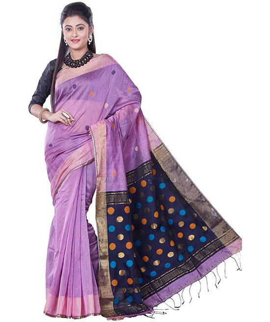 Tangail Handloom Cotton Linen Blend Saree Purple, Dark Blue