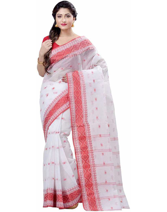 Tangail Handloom Pure Cotton Saree Red, White