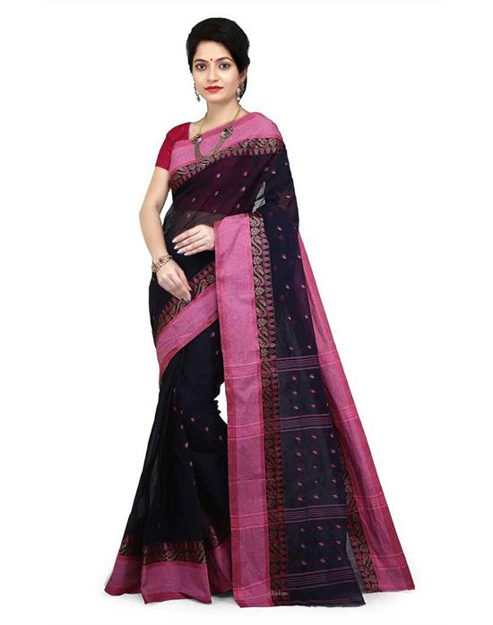 Tangail Pure Cotton Saree Black, Pink