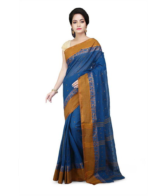 Tangail Pure Cotton Saree Blue