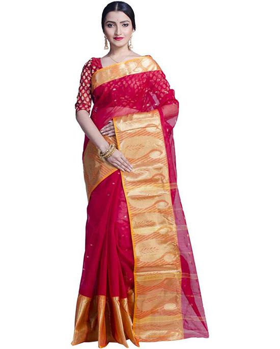 Tangail Pure Cotton Saree Multicolor