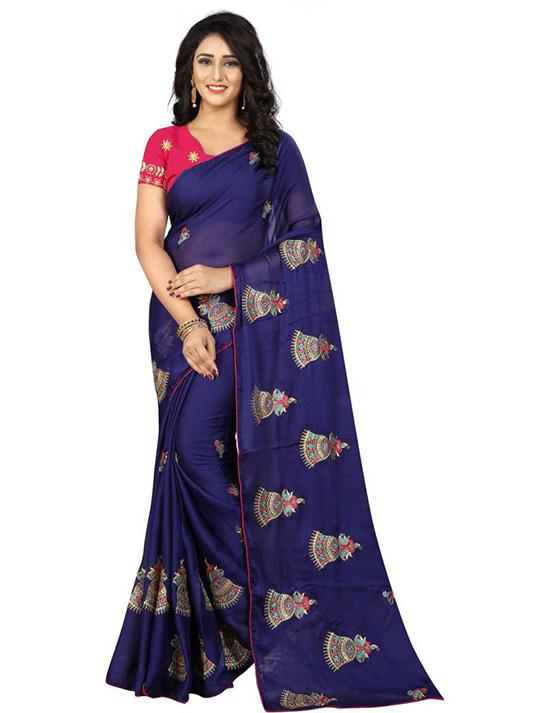 Thirubuvanam Chiffon Saree Dark Blue