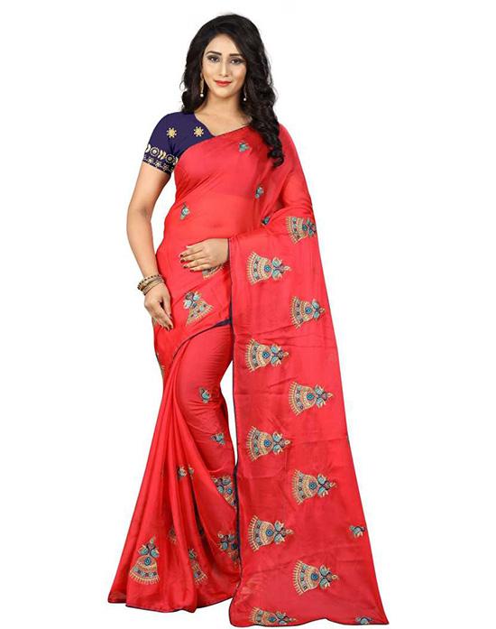 Thirubuvanam Chiffon Saree Red