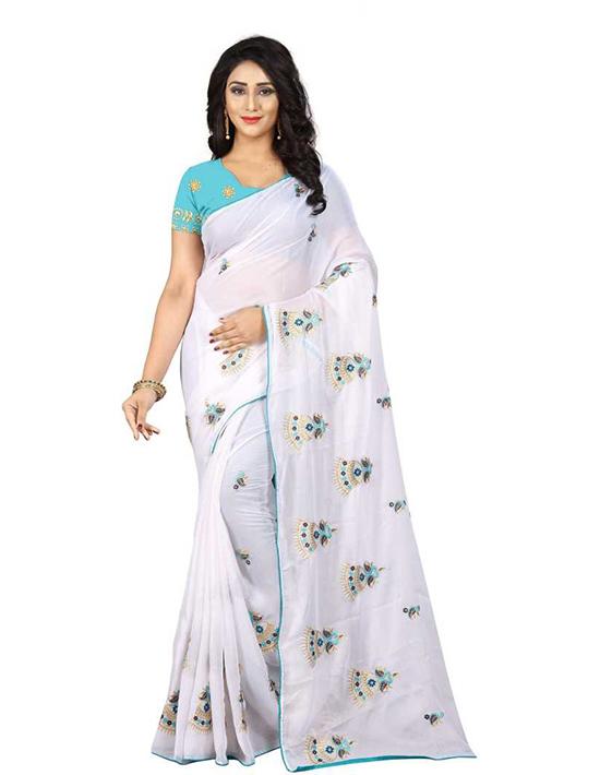 Thirubuvanam Chiffon Saree (White