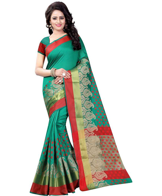 Thirubuvanam Cotton Blend, Poly Silk Saree Green