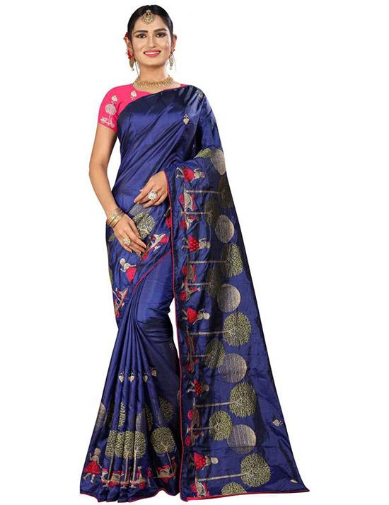 Thirubuvanam Cotton Silk Saree Blue