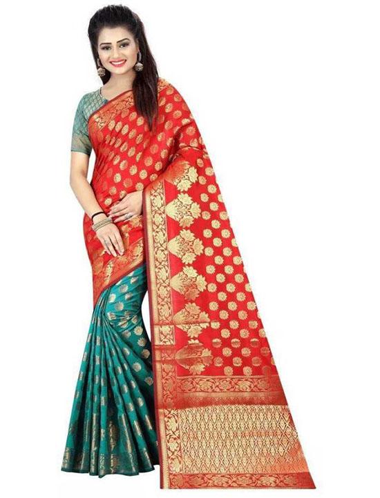 Thirubuvanam Cotton Silk Saree Green, Orange