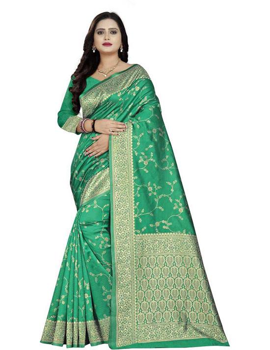 Thirubuvanam Cotton Silk Saree Green