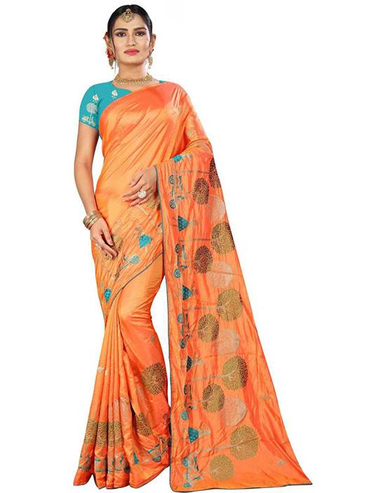 Thirubuvanam Cotton Silk Saree Orange)